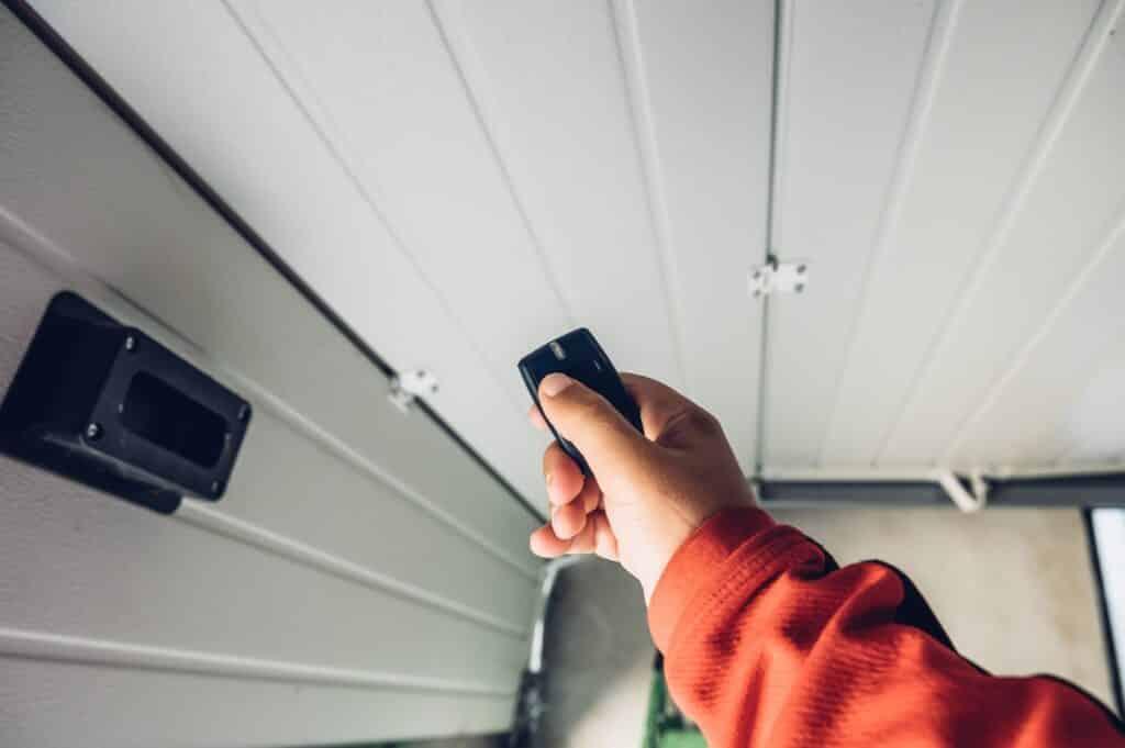 Person using a garage door remote